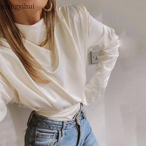 Sexy Long Sleeve White Satin T shirt Women Fashion Turtleneck Pink Bodysuit One Piece Tops New Spring Summer Bodysuit Clubwear