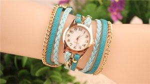Hot Selling Women Wrap Lady Leather Wrist Watches Round Dial Charming Bracelets Watches Mix 8 Colors Free Drop Shipping