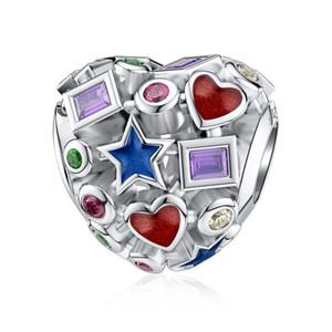 Dalaran corazón encanto de la plata esterlina 925 Calado colorido del grano por encantos originales multa de la pulsera de la joyería femenina
