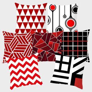 Almofada vermelha cobre almofadas decorativas travesseiro capa 45x45 fronha de lábio geométrico almofada de lançamento do sofá do sofá do sofá 10069