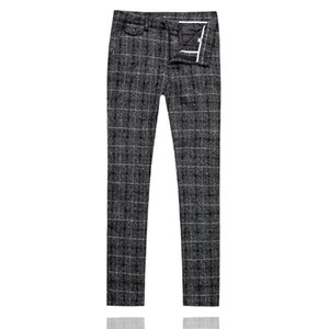 Men Plaid Suit Pant Slim Design Dress Pants Men Yellow Blue Gray Black Leisure Pant Asia Size S M L XL XXL XXXL 4XL 5XL