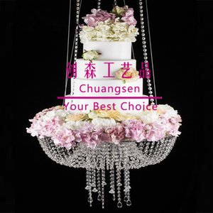 Popular 60cm 45cm big cake stand chandelier,suspended crystal acrylic hanging cake stand, swing wedding cake stand