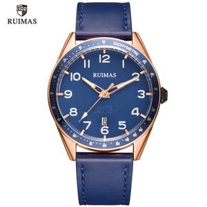 2020 RUIMAS lusso semplice dell'esercito del quarzo di sport guarda gli uomini di cuoio di lusso superiore di marca blu orologio da polso luminoso Guarda 573