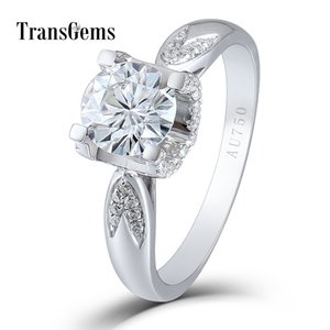 Transgems 1 ct 6.5MM F Color Lab Grown Moissanite Round Brilliant Cutting 18K White Gold 750 Engagement Ring for Women Y200620