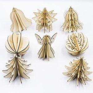 5PCS bois Tranches Splicing bricolage 3D Pendentifs Noël avec Accrocher cordes pour l'arbre de Noël ou à la maison Décorations intérieur Produtos Natalinos