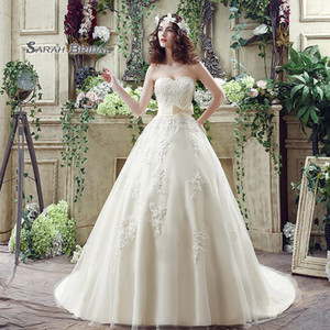 Gorgeous A-Line Sleeveless Lace Up Sweetheart Appliques Bow Sleevless 2019 Tulle Formal Party Wear Wedding Dress Bridal Ball Gowns SQS039
