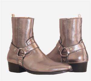 Yeni şampanya altın rengi hakiki deri jodhpur Wyatt botlar el yapımı cusotmizde tasarımcı çizme