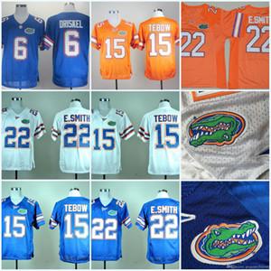 플로리다 게이터 15 Tim Tebow 22 E.Smith Jeff Driskel 6 Royal NCAA College Football Jersey 화이트 오렌지 블루 더블 스티치 된 이름 번호