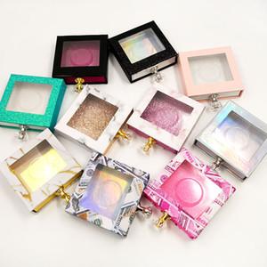 Оптовая продажа алмазные квадратные накладные ресницы упаковочная коробка карбоновая коробка для упаковки ресниц 3D глазные ресницы ящик для хранения пустые коробки для ресниц чехол