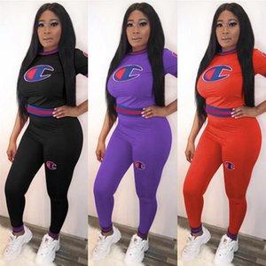 Женщины чемпионов футболку Tracksuit короткий рукав футболки Топы + брюки леггинсы 2 Piece Set Screw Thread Дизайн Эпикировка весна костюм Одежда