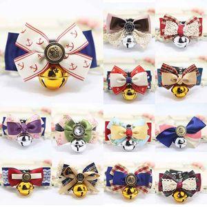 Bells Bow Tie Kediler Bow Tie Emniyet Elastik Papyon Bell çoklu renkler ile Pet Kedi Yakalar Köpek Kedi Bell ilmek Yaka besler