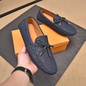 Chaussures robes pour hommes Set Foot luxe Designer design Chaussures Hommes Brogue Chaussure Gravure Conduite avec fil d'or Véritable en cuir véritable Taze38 ~ 45