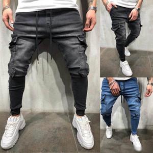 Automne nouveaux hommes Designer Biker Jeans automne poches Casual design Pantalon Crayon Hommes Pantalones