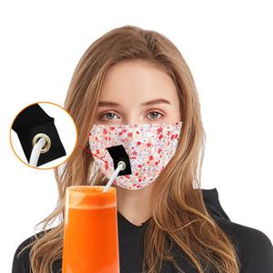 Masques Designer Masques fête boisson pour enfants adultes Anti PM2,5 Pollution Brouillard Coton Bouche paille Masque réutilisable lavable protection A191