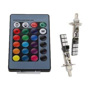 H1 H3 880 881 LED 12SMD RGB Car Headlight Fog Light Lamp Bulb+Remote Control - H1