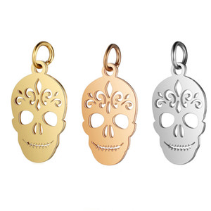 Rose Gold 5pcs lot Stainless Steel Skull Pendant Charms with Hook for DIY Necklace Findings Crafts Halloween Jewelry Making