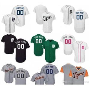 2019 2020 Özel Womens Gençlik Detroit Tigers Beyzbol Jersey Beyaz Lacivert Gri Mavi Kırmızı Dikişli herhangi İsim Herhangi Numara gömlekler Jersey hediye
