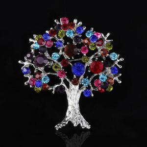 Europa moda colorido de cristal pinos da árvore de Natal broche de liga árvore da vida corsage homens traje declaração de jóias de presente de Natal 170298