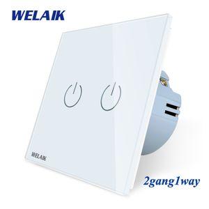 WELAIK UE 2gang1way muro-Touch-interruttore a cristallo-vetro-pannello-Wall Switch-Switch Intelligent- interruttore della luce AC250V A1921CW Y200407