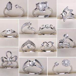 Nuevo diseño 925 anillos de la astilla ajustes diy anillo de perlas para las mujeres anillos de bricolaje tamaño ajustable ajustes de la joyería declaración de navidad joyería de moda