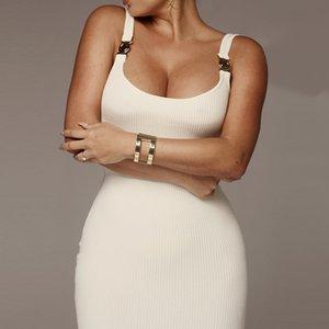 Kadınlar Lüks Kareli BODYCON Elbise Kadın Tasarımcı Giyim Spagetti Askı Vestidoes Elbiseler