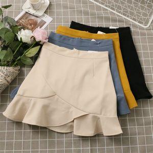 Новый сексуальный высокой талией Falbala твердый молния студент юбка уличная спортивная юбка LJ036 женщин