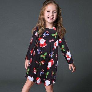 Girls Casual Kids Fashion Sleeve Long Santa Claus Dresses Gift For Xmas Swing Dress Christmas Dress Design Flared Mini Hpnin