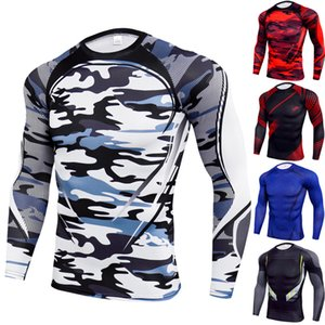 7 Color S-3XL Men's Fitness Compression Top Shirt Athletic Dry-fit Base Layer Long Sleeve Slim Camouflage Workout Clothes 60231197595528