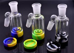 2pcs стекла Ash Catcher с силиконовым воском Jar для стекла Bongs водопроводная труба Dab Rigs 14MM-14MM 18мм-18мм Совместным золоуловителя Bong