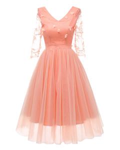 2020 Jingshang Fashion Elegant Dress New Autumn Bridesmaid Dress V-neck Embroidered Lace Mesh Yarn Crop Skirt