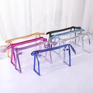 Factory price Transparent Cosmetic Bags PVC Zipper Clear Waterproof Makeup Bag Women Travel Toiletry Storage Bags Makeup Organizer Case