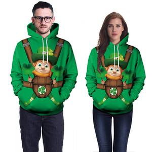 캐주얼 홀리데이 St. Patricks Day Sweatshirt 패션 토끼풀 커플 탑스 Sweetheart Lover Streetwear Green Leprechaun Print Hoodies