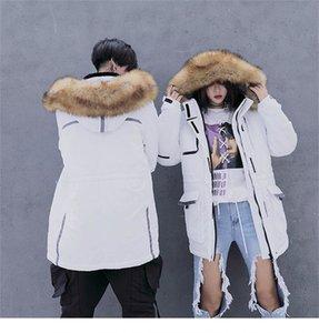 Проектировщик Solid Color Мужские ветровки искусственного меха Hat Мода женщин Зимняя куртка Повседневный Пара Matching Одежда