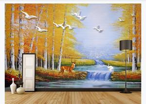 Stile europeo di olio stereoscopica pittura Swan Lake foresta alci Wallpaper murale per Soggiorno Camera pittura TV parete di fondo