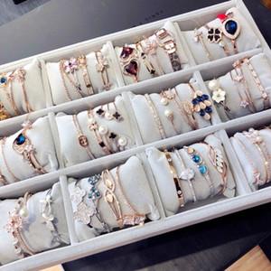 Gold überzogene Armband Hand multi Schichten Zircon-Metallarmband mit Strass Rose Alloy Bangle Mode Frauen Schmuck Großhandel