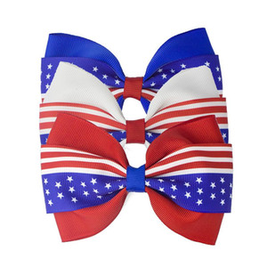 3 Colors American Flag Barrettes Bowknot Hair Clip Independence Day Hairpins Decoration 4th of July kids Hair Accessories