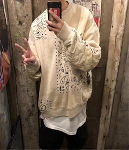 Hombre del diseñador sudaderas anacardo Flores empalme, además de terciopelo Mujeres Espesar suéter High Street suéter de la manera suelta la camiseta de la marca