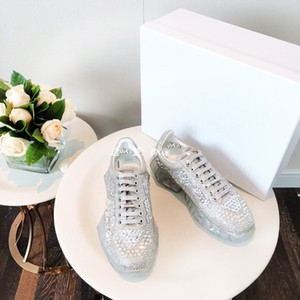 Pearl Genuine Leather Silver Luxury womens Casual Shoes Black White sparkly ones Women Low glitter pump Designer Trainer Platform Sneaker