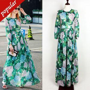 XXL 3XL Femminile Primavera Autunno Runway Ortensia Green Leaf stampato maxi vestito lungo manica vestiti lunghi cinghia