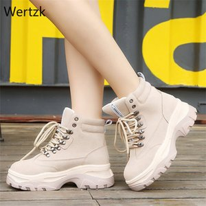 British Thick Bottom Women Ankle Snow Boots Lace Up Motorcycle Boots Women Ankle Rivet Shoes B192