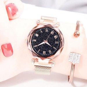 Women's Starry Sky Wristwatches Magnetic Magnet Buckle Quartz Clock Geometric Surface Female Luminous Bracelet Watches