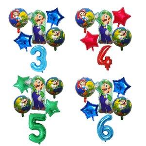 6pcs Super Mario Balloons 30 inch Number Balloons Boy Girl Birthday Party Mario Luigi Bros Mylar Blue Red Foil Balloon Set Decor