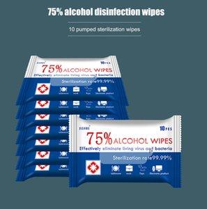 10pcs / Set المطهر Wet Wipes, 75% Alcohol Daily تطهير