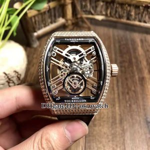 NUEVO SARATOGE Vanguard Skeleton Caja de oro rosa bisel de diamante V 45 T SQT Reloj automático para hombre Reloj deportivo para hombre Correa de caucho de cuero