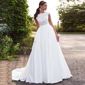 Bateau Sleeves Curtos Appliques Lace A-Line Vestidos de Noiva de Cetim Backless Vestidos Bridais 2020 Modestas Long Garden Robe de Mariee