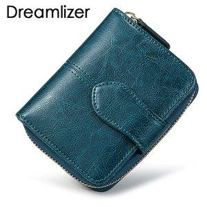 Bifold Ölwachs Echtes Leder Frauen Mini Kupplung Brieftasche Soild Farbe Münzfach Geldbörse Frauen Leder Kartenhalter Brieftasche Tasche Y19051702