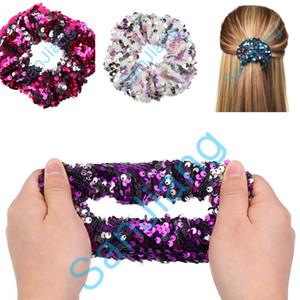 Flip Mädchen Mermaid Pailletten Glitters Scrunchy Hair Frauen Reversible Sequined Scrunchies Kinder Glänzende Seil-Pferdeschwanz-Krawatte Haar-Halter D3905