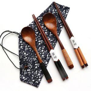 Ensemble de coutellerie en bois de style japonais Ensemble de coutellerie portatif écologique Cuillère à baguettes Vaisselle Cuisine chinoise Sushi Baguettes