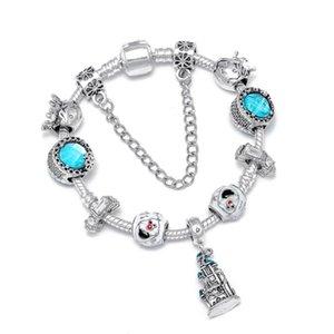 Seialoy Blue Magic Castle браслеты шарма для женщин Оригинальный Кристалл Снежинка бисер браслет ювелирных кристаллов подарок