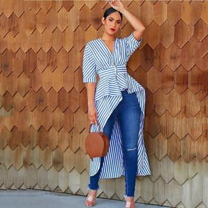Mulheres Striped Impresso shirt V-Neck irregulares Shirts Sexy Hi-Lo Sashes manga comprida Trabalho de escritório da mola camiseta Tops